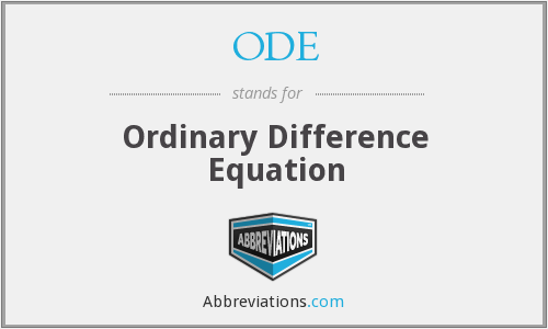 ODE - Ordinary Difference Equation