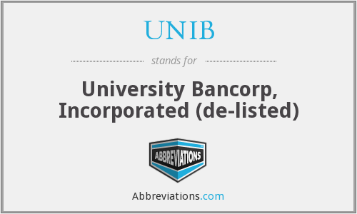 UNIB - University Bancorp, Inc.