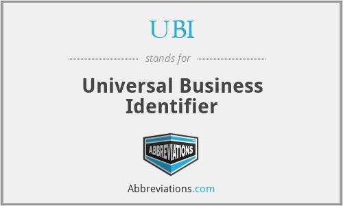 UBI - Universal Business Identifier