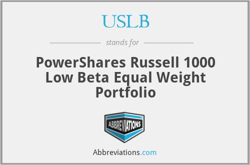 USLB - PowerShares Russell 1000 Low Beta Equal Weight Portfolio
