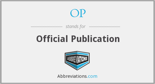 OP - Official Publication