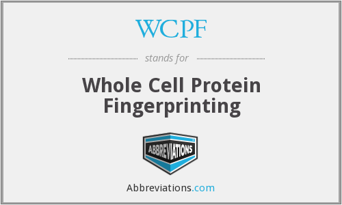 WCPF - Whole Cell Protein Fingerprinting