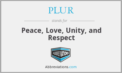 PLUR - Peace, Love, Unity, and Respect