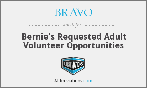 BRAVO - Bernie's Requested Adult Volunteer Opportunities