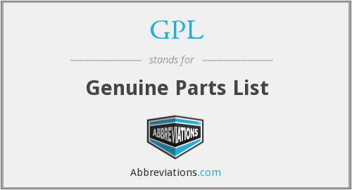 GPL - Genuine Parts List