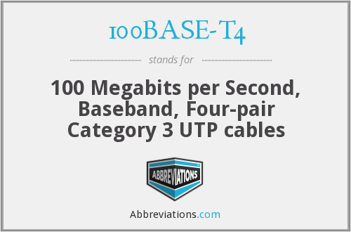 100BASE-T4 - 100 Megabits per Second, Baseband, Four-pair Category 3 UTP cables