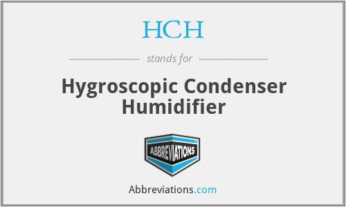 HCH - Hygroscopic Condenser Humidifier