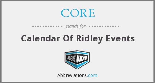 CORE - Calendar Of Ridley Events