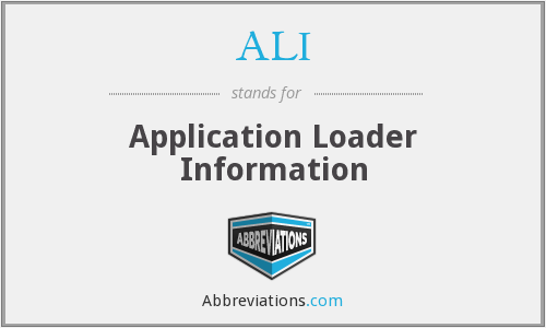 ALI - Application Loader Information