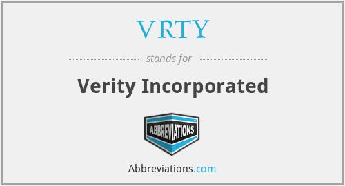 VRTY - Verity Incorporated
