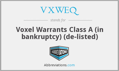 VXWEQ - Voxel Warrants Class A (in bankruptcy)