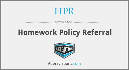 HPR - Homework Policy Referral