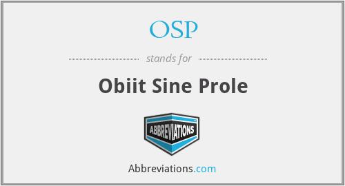 OSP - Obiit Sine Prole