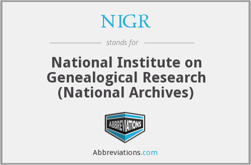 NIGR - National Institute on Genealogical Research (National Archives)