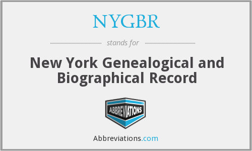 NYGBR - New York Genealogical and Biographical Record