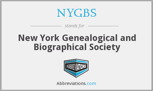 NYGBS - New York Genealogical and Biographical Society