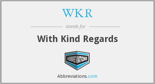 What Is The Abbreviation For With Kind Regards
