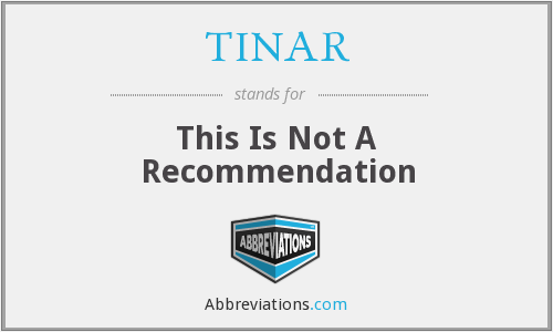 TINAR - This Is Not A Recommendation