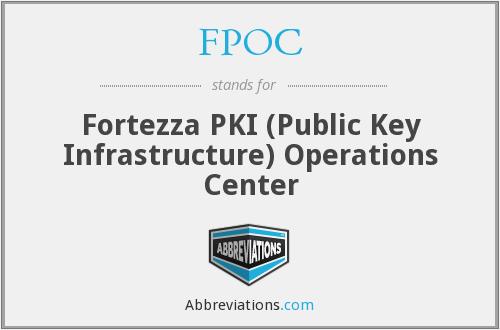 FPOC - Fortezza PKI (Public Key Infrastructure) Operations Center
