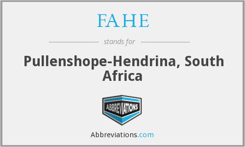 FAHE - Pullenshope-Hendrina, South Africa