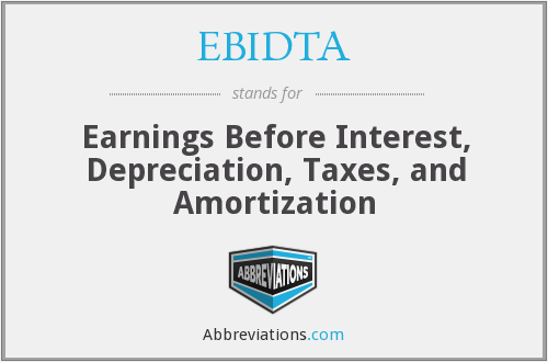 EBIDTA - Earnings Before Interest, Depreciation, Taxes, and Amortization
