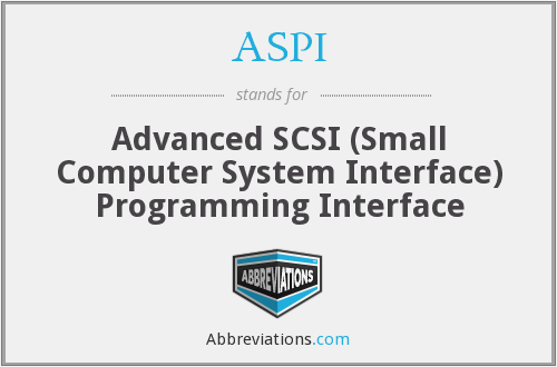 ASPI - Advanced SCSI (Small Computer System Interface) Programming Interface