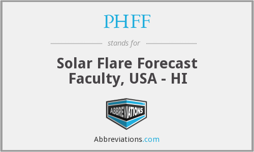 PHFF - Solar Flare Forecast Faculty, USA - HI