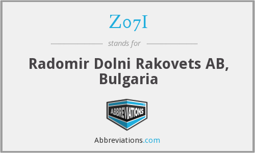 Z07I - Radomir Dolni Rakovets AB, Bulgaria