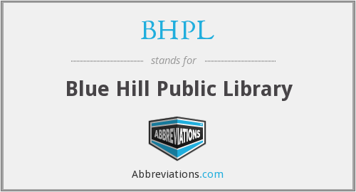 BHPL - Blue Hill Public Library