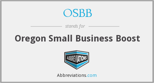 OSBB - Oregon Small Business Boost