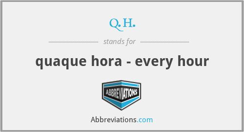 q.h. - quaque hora - every hour