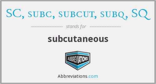 What does SC, SUBC, SUBCUT, SUBQ, SQ stand for?