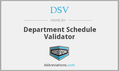 DSV - Department Schedule Validator