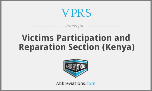 VPRS - Victims Participation and Reparation Section (Kenya)
