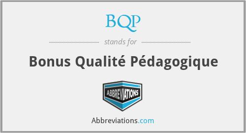 BQP - Bonus Qualité Pédagogique