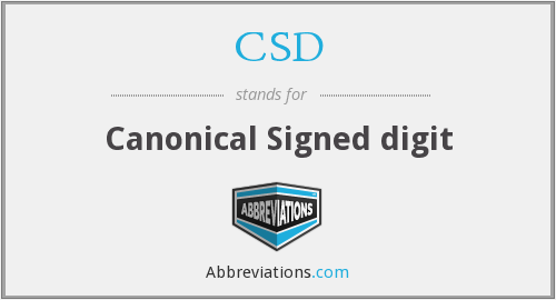 CSD - Canonical Signed digit