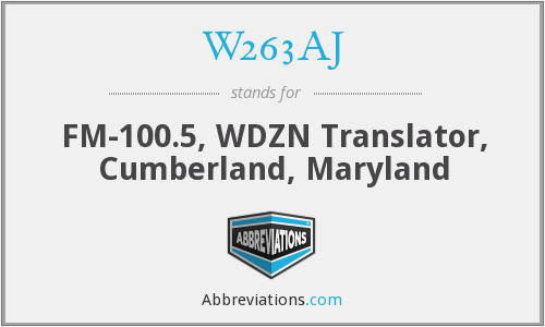 W263AJ - FM-100.5, WDZN Translator, Cumberland, Maryland