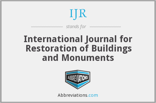 IJR - International Journal for Restoration of Buildings and Monuments