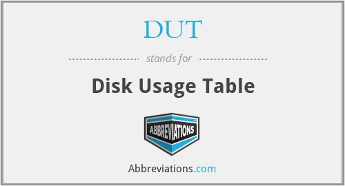 DUT - Disk Usage Table