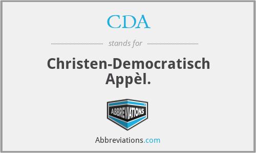 CDA - Christen-Democratisch Appèl.