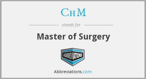 ChM - Master of Surgery