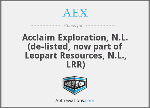 AEX - Acclaim Exploration, N.L. (de-listed, now part of Leopart Resources, N.L., LRR)