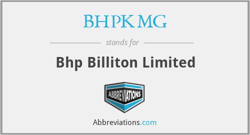 BHPKMG - Bhp Billiton Limited