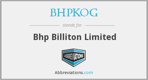 BHPKOG - Bhp Billiton Limited