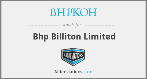 What does BHPKOH stand for?
