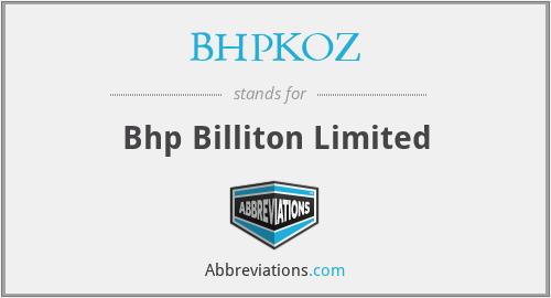 BHPKOZ - Bhp Billiton Limited