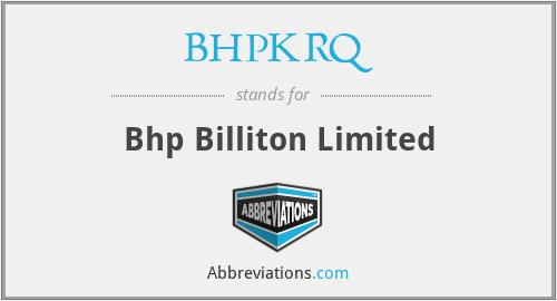 BHPKRQ - Bhp Billiton Limited