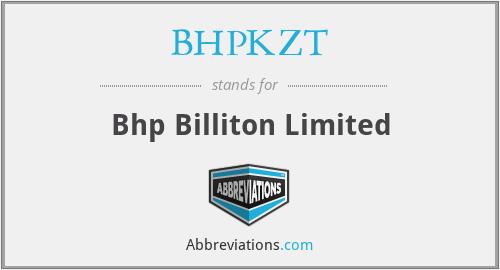 BHPKZT - Bhp Billiton Limited