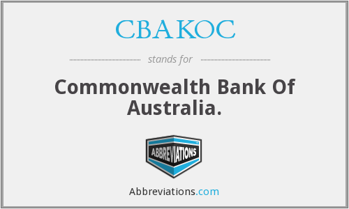 CBAKOC - Commonwealth Bank Of Australia.