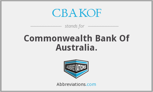 CBAKOF - Commonwealth Bank Of Australia.